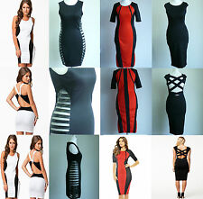 Sexy Clubwear Dress Bodycon Party White Black Red 6 8 10 12 UK Seller