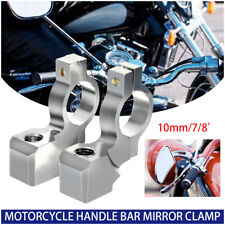 2x Universal Chrome Motorcycle Handlebar Mirror Mount 10MM 7/8'' ALUMINUM CLAMP