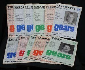 11 Vtg Saginaw Gears Hockey Souvenir Programs IHL Lot 1983 Players Michigan