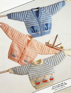 Baby DK Knitting Pattern Three Cardigan  Sizes 16-26 inches #213