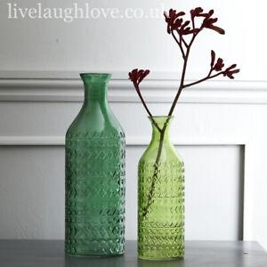Set Of 2 Large Decorative Green Glass Bottle Vases - 30 + 23 cm L Dark / S Light