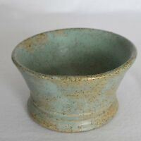 Hand Thrown Pottery Stoneware Pedestal Bowl Candy Trinket Dish Green 90s Rustic