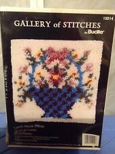 """Gallery of Stitches By Bucilla Latch Hook Pillow """"Basket Of Flowers"""""""