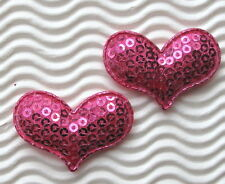 """US SELLER - 60 pc x 1.5"""" Padded Sequined Felt Valentine's Heart Appliques ST521M"""