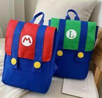 Super Mario Bros Backpack School Travel Bag Kids Gaming Wii U 3DS Nintendo Luigi