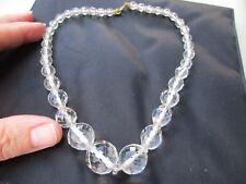 Antico Vintage Periodo edoardiano Art Deco cristallo Bianco Perle Di Vetro Collana Girocollo VECCHIO