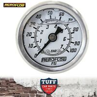"Aeroflow White 0 - 100 PSI Liquid Filled EFI Fuel or Oil Pressure Gauge 1/8"" NPT"