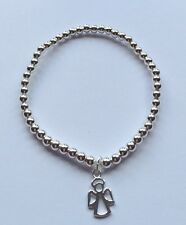Sterling Silver Stretch Bracelet With Angel Charm. Fairy Pendant