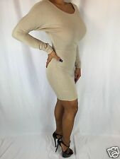 Connie's Bodycon  Long Sleeve Scoop Neck Sheath Beige Mini Dress S