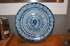 "11"" blue-glazed earthenware studio pottery plate for hanging"