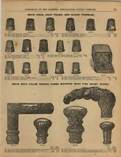 1893 PAPER AD Square Fluted Crook Gold Walking Cane Head Sewing Thimbles