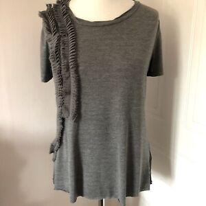 Next Grey Ruffle T Shirt Top Size 12 Short Sleeves Raw Hem Relaxed Soft Grunge