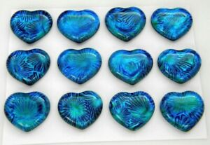 BLUE STARBURST Lot 12 pcs HEART DICHROIC FUSED GLASS pendant (BB8) CAB HANDMADE