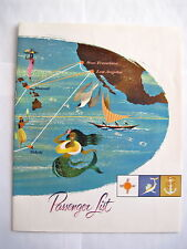1959 S.S. Lurline Sailing From Honolulu to Los Angeles w/ Mermaid On Cover *