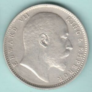 BRITISH INDIA 1909 KING EDWARD VII ONE RUPEE SILVER COIN RARE DATE NEAR ABT UNC