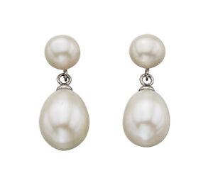 Elements Silver Sterling Silver Ladies Fresh Water Pearl Double Drop Stud