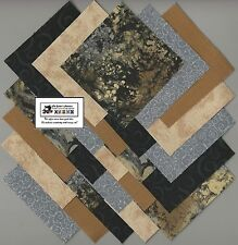 """40~4"""" Brown,Black,Tan """"Stone"""" Fabric Squares/Quilt/Craft/Sew/Charm Pack #0904"""