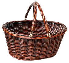 Traditional Premium Wicker Shopping Basket  - LARGE VINTAGE BROWN