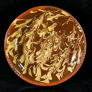 Colonial Williamsburg Restoration Redware Slip Glaze Pie Plate Deep Dish Repro