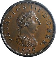 1806 Penny George III Soho Mint AU