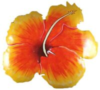 Tropical Hibiscus Floral Haitian Metal Wall Art Yellow and Orange