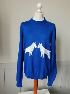 1970s Hand Made Canine Design Jumper Dog in Blue Acrylic Made England -42/L-TO27