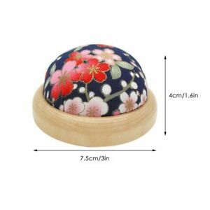 Needle Pincushion Pillow Holder Sewing Tool Ball Shape With Wood Base Stitch Kit