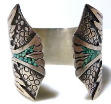 MEXICO MEXICAN THUNDERBIRD BIRD TURQUOISE CORAL CUFF STERLING SILVER BRACELET