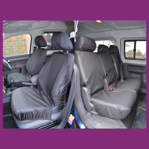 VW Volkswagen Caddy 2004-2021 Front Pair + Rear 2+1 (5 Seats) Black Seat Covers