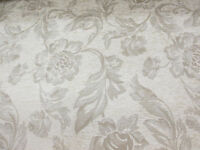 """Cream Chenille Floral Jacquard """"Cumbria"""" Fire Resistant Heavy Upholstery Fabric."""