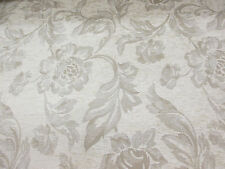 "Cream Chenille Floral Jacquard ""Cumbria"" Fire Resistant Heavy Upholstery Fabric."