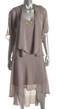 SL Fashions ~ Taupe Chiffon Beaded Hi-Low Shift Dress W/ Jacket 8 NEW $119