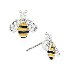 Bumble Bee Fashionable Earrings - Enamel - Stud - Sparkling Crystal