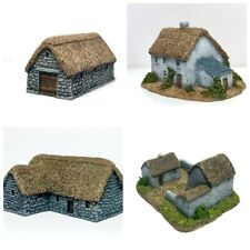 6mm wargame buildings. 4  x Thatched Buildings Set - 6mm Wargaming