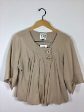 MIKE & CHRIS FOR BARNEY'S Beige 3/4 Sleeve Cotton Jacket Size Small