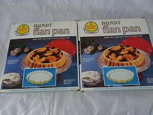 "Vintage Nordic Ware Bundt ""Flan Pan"" Yellow 4 Cup Size Non-Stick LOT 2 NEW"
