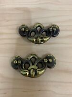 Vintage Brass Bat Wing Drop Handle Drawer Pulls Set Of 2 New Old Stock.