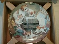"""Country kittens """"all washed up"""" collector plate never used mint 1988 0050"""