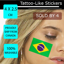 Brazil Face Arm Sticker World Cup 2014 Tattoo Football Flag Paper WC 4X2.5 CM