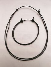 Black Leather Surfer Choker Necklace and BRACELET/ANKLET- Unisex -Made in USA