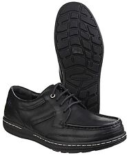 Men's Hush Puppies Vines Victory Black Leather Shoes UK 6 - 13 Dual Fitting UK 10 EU 45