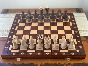 Large Handmade Detailed Travel Wooden Chess Set 21 Inch Folding Board 4in King