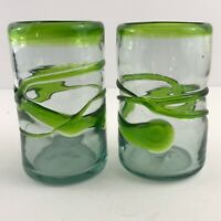 "Set of 2 Art Glass Green & Clear Tumblers Hand Blown Rough Pontil Heavy 5"" NICE!"