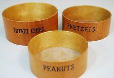 Set of 3 Vintage Wood Bowls Potato Chips Peanuts Pretzels Mid Century 1950's