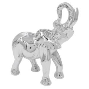 Elefante Indiano con Zanne Bianche Scultura in Laminato Argento Satinato e Lucid