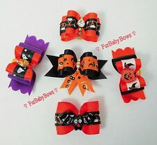 30 Assorted Halloween Dog Pet Puppy Grooming bows Maltese Yorkie Biewer Poodle