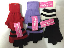 6 PAIR LADIES GIRLS   FINGERLESS WARM STRETCH COLOUR  MAGIC GLOVES