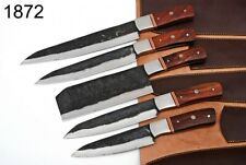 5 Pieces hand Forged Railroad Spike Carbon Steel Chef Knives Set . Kitchen Set