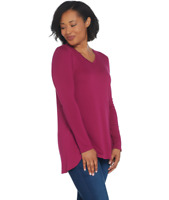 Isaac Mizrahi Live! X-Small Essentials Pima Cotton V-Neck Hi-Low Hem Top Wine XS