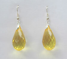 FACETED GOLDEN YELLOW ACRYLIC CRYSTAL BRIOLETTE TEARDROP SILVER P DROP EARRINGS